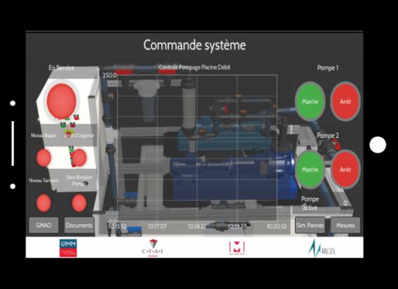 capture d'écran en mock up mstart station de commande système de pompage piscine